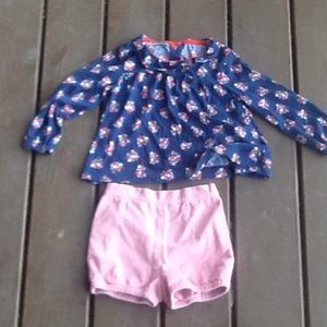 Mini Boden 3-4 outfit top and cord shorts